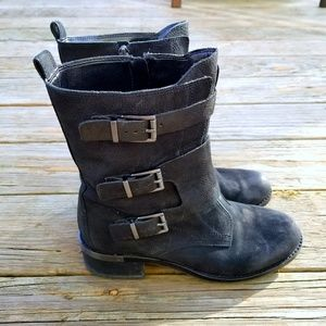 Vince Camuto Watcher Black Leather Buckle Boots 9